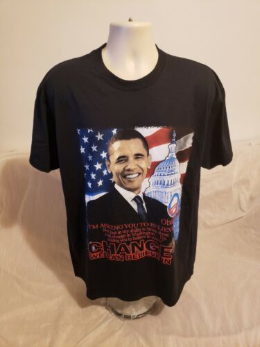 2008 Obama Change We Can Believe In Adult Black XL T-Shirt