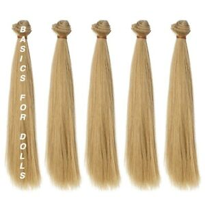 5 piece lot Hair Weft 100cm Dirty Blonde Straight Synthetic Handcraft DIY