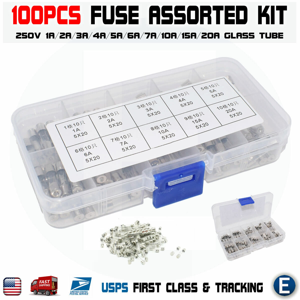 USA Fast Shipping 5 Fast Blow Ceramic Fuses 8A 8 AMPS 110-250V 5x20
