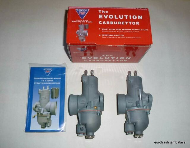 Wassell EVOLUTION 930 Concentric Carburetor SET--Jetted Norton 750 Atlas N15 P11