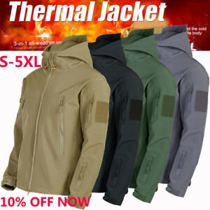 2ee79c565 Details about 3 in1 Waterproof Tactical Soft Shell Men's Jacket Coat Army  Military Windbreaker
