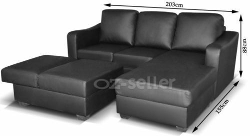 High Quality Pu Leather Corner Lounge Sofa Suite Couch Furniture Chaise Set