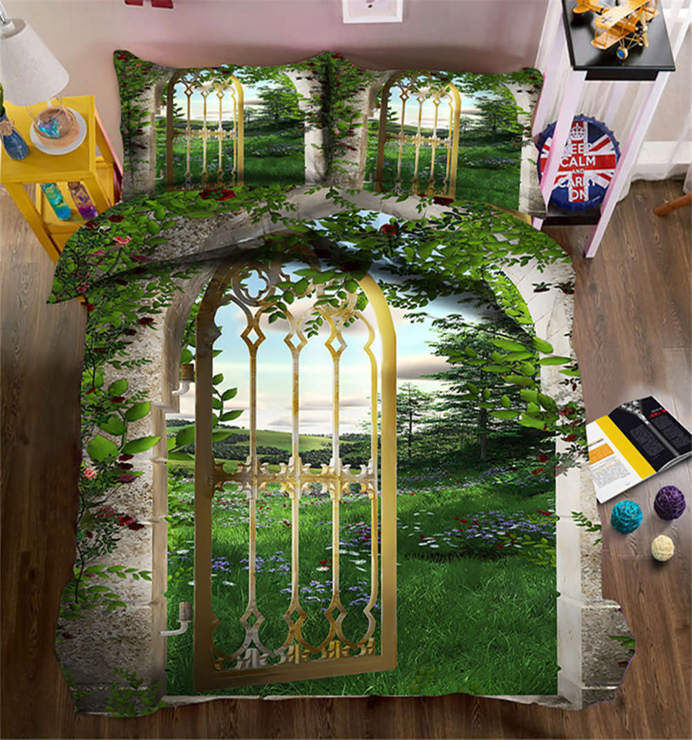 Warm Courtyard 3D Printing Duvet Quilt Doona Covers Pillow Case Bedding Sets