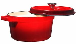 Bruntmor-Enameled-Cast-Iron-6-5-Qt-Covered-Round-Dutch-Oven-RED-NEW