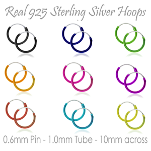 Sterling Silver Colour Hoop Earrings Sleeper UK for Lady Girl Boy Kid Small Tiny