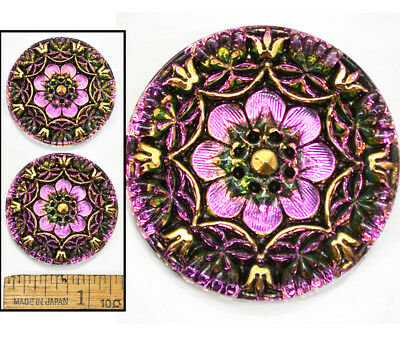 32mm Vintage Czech Glass ORANGE RED Nailhead Spiral Dot 3D FLOWER Buttons 2pc