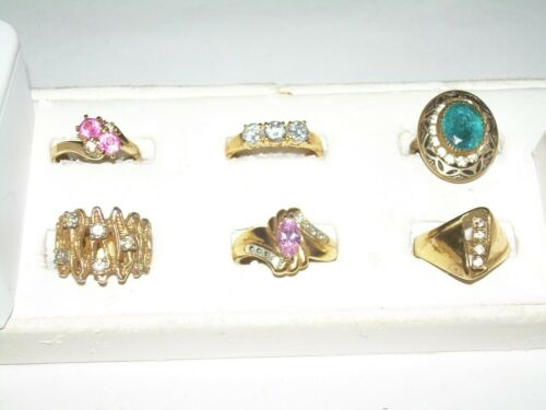 Vintage Lot 6 Rings - Costume, Cocktail ,Variety S