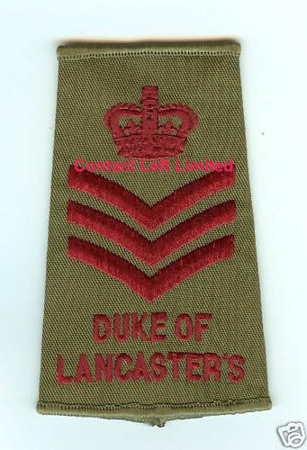 Neu Duke von Lancasters Farbe Sergeant Csgt Rang Slide