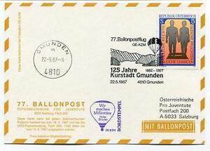 DernièRe Collection De 1987 Ballonpost N. 77 Pro Juventute Aerostato Oe-kzm Kurstadt Gmunden