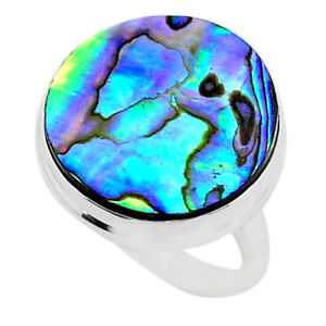 925 Silver 17.32cts Solitaire Natural Abalone Paua Seashell Ring Size 9 T40577