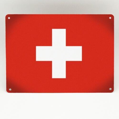Suisse Swiss Suisse Drapeau Métal Signe Cadeau Imprimé Poster Plaque