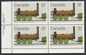 Canada Stamp #1001 -Canadian Locomotives Samson 0-6-0 type (1983) LL PLATE BLOCK