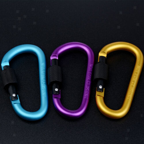 10Pcs D-ring Safty Metal Climbing Carabiner Buckle Snap Spring Clip Keychain