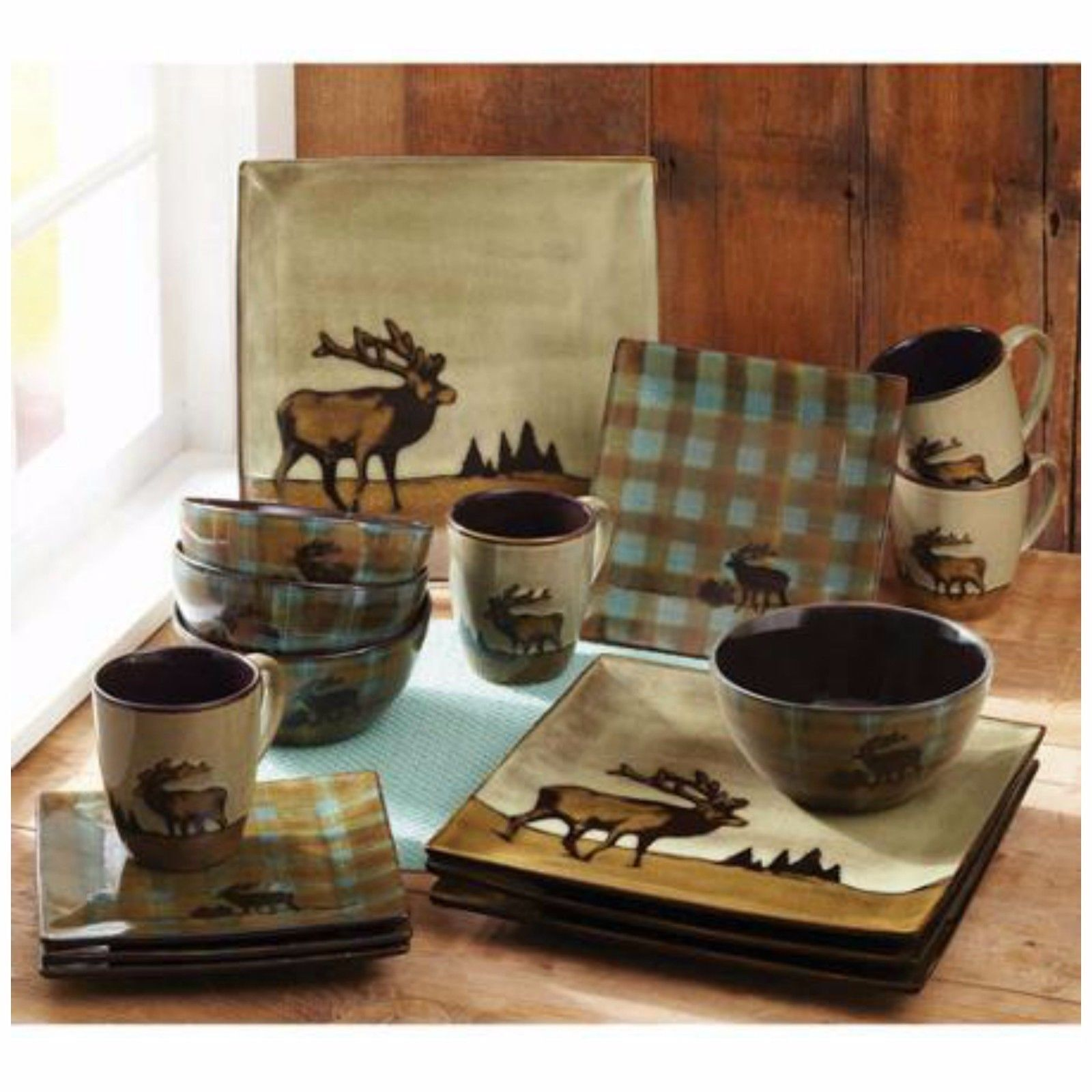 Wildlife Dinnerware Sets vaisselle Ensemble 16 pièces en grès de plaques Bol Cuisine tasse S