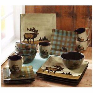 Image is loading Wildlife-Dinnerware-Sets-Dishes-16-Piece-Set-Stoneware- & Wildlife Dinnerware Sets Dishes 16 Piece Set Stoneware Plates Bowl ...