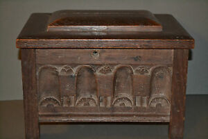 Antique 17th Century and Later Oak Wooden Box ,Lovely Decorative Panels, c1680