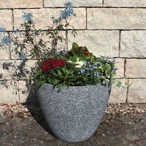 Pflanzkubel O 44 H 37 Cm Kunststoff Grau Blumentopf Pflanztopfe Gross Rund Aussen Ebay