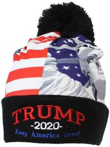 2a4bf91c923 Best Winter Hats American Flag W Embroidered Trump 2020 Cuffed W Pom ...