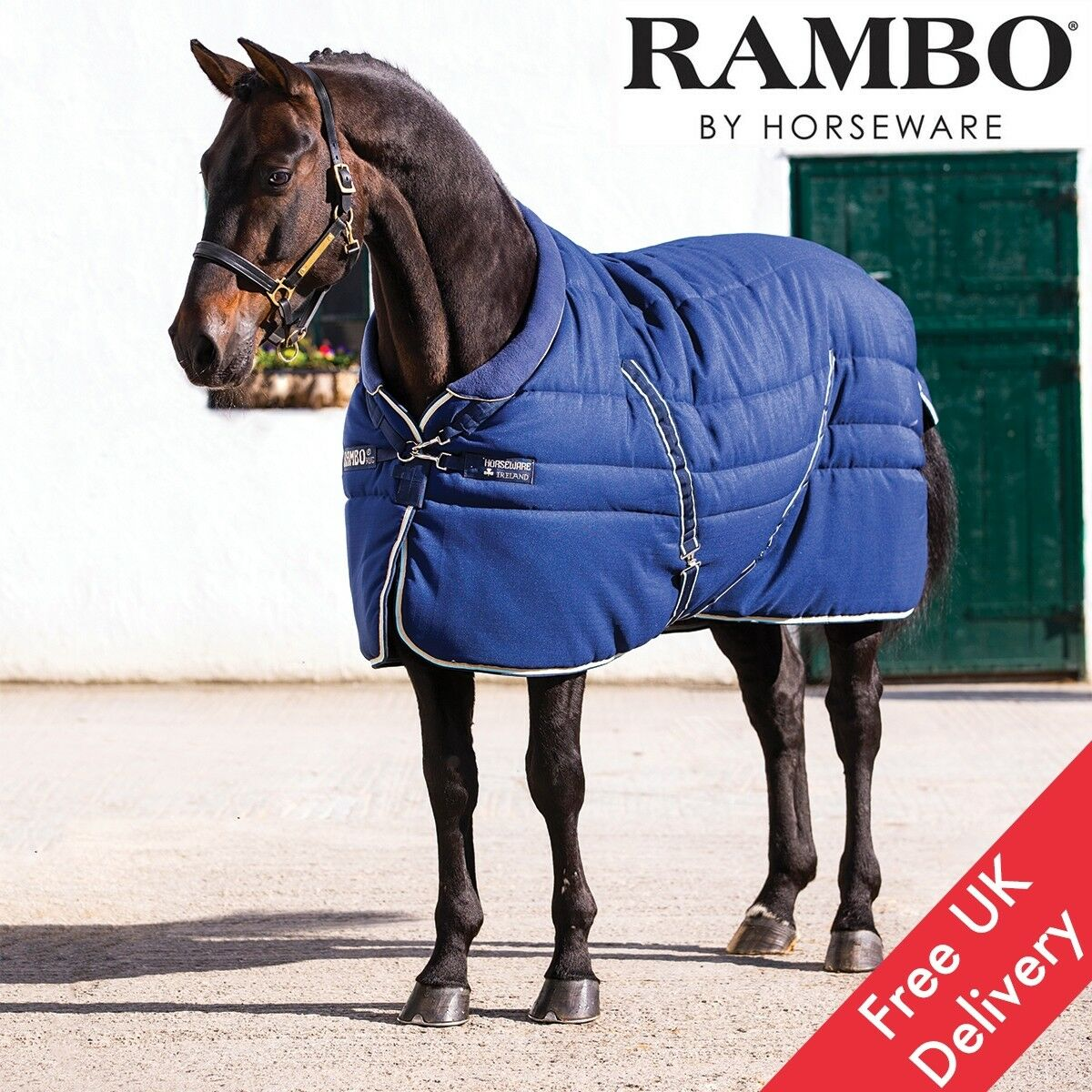 Horseware Rambo Cosy Stable Rug - Navy Beige Blau Navy