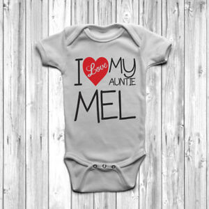 Personalised i love my auntie baby grow body suit vest cute custom image is loading personalised i love my auntie baby grow body negle Images