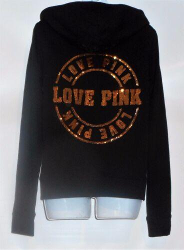 à Pink noir Victoria's en love complète capuche glissière Secret S Sweat velours à Pink zippé t6xPZwq6