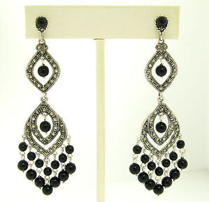 Image Is Loading Marcasite Sterling Silver Large Long Dangle Chandelier Black