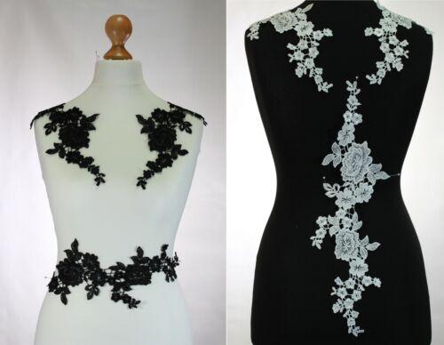 Cream #15 1 x Extra  Large Floral lace Applique  sew on lace motifs Black