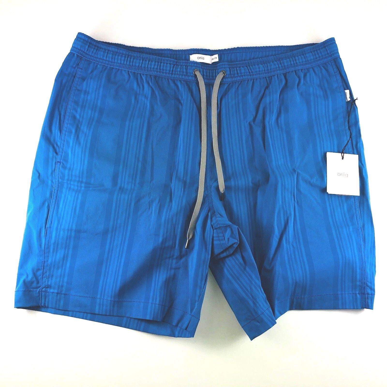 Onia Charles Trunks Tonal Multio Stripe 8 Inch Swim Shorts Mens XXL NWT