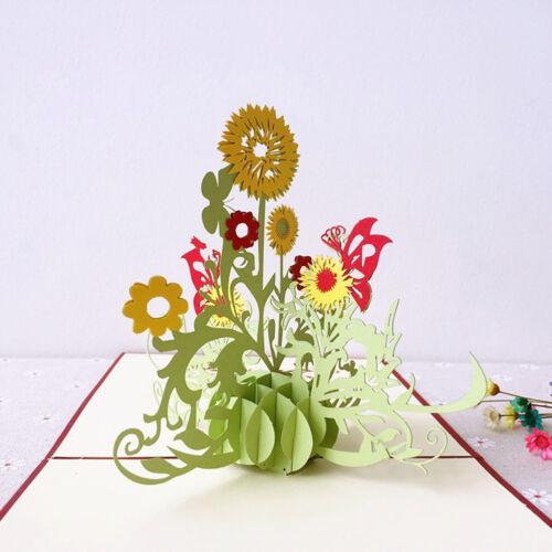 Qu/_ KF/_ 3D Pop Up Flower Greeting Card Thanksgiving Birthday Teachers/' Day Gift