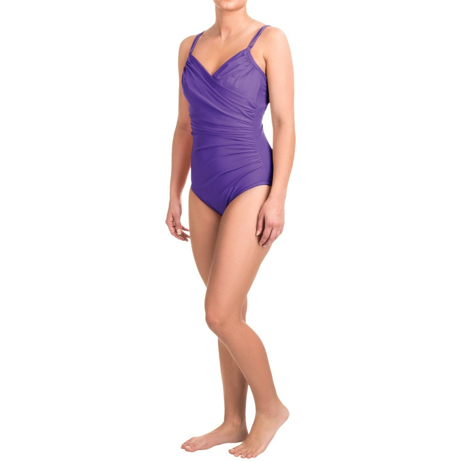 Orig.  152 Miraclesuit 14 44 Must Haves Captiva Swimsuit Double Strap Purple