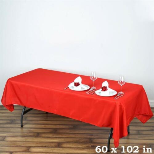 10 Pk 60x102 in Polyester Rectangle Seamless Tablecloth Wedding Party