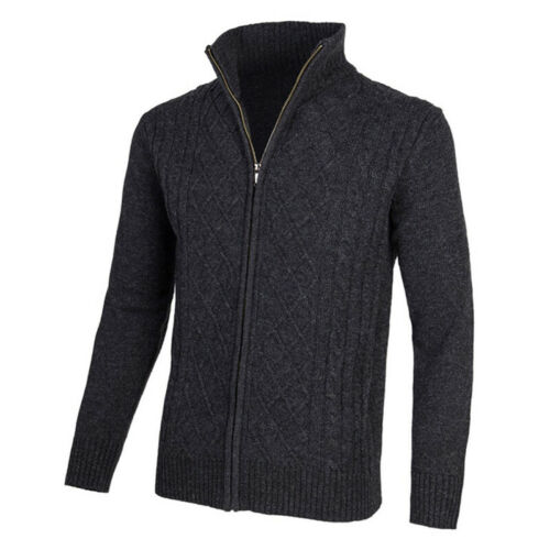 FASHION MENS STAND NECK JUMPERS ZIP UP CARDIGAN KNITTED SOFT SWEATER OUTWEAR