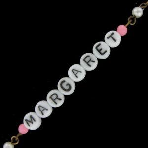 Margaret - Pink Glass Faux Pearl Name Link Bracelet - Circa 1950-60
