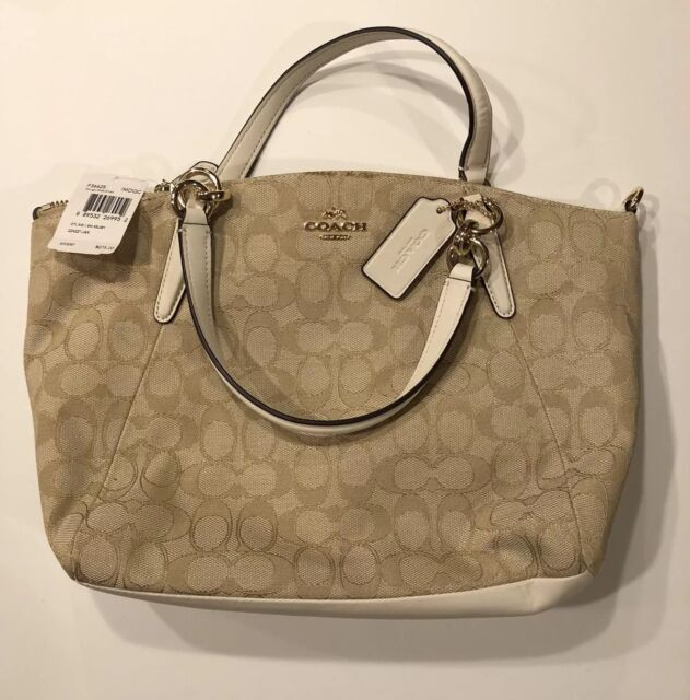 a067bf117ddf NWT COACH OUTLINE SIGNATURE KELSEY SM Satchel Bag F36625 Rare Light Khaki  Chalk