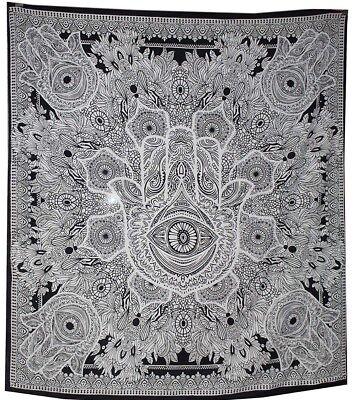 Indian Tapestry Wall Hanging Fatima Eye Mandala Tapestries Throw Bed Black UK