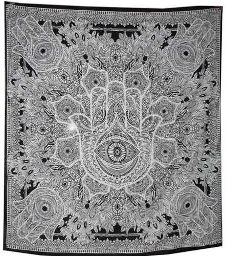 Indian Tapestry Wall Hanging Fatima Hand Good Luck Tapestries Throw Bed Black UK