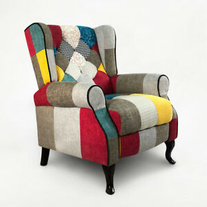 Fauteuil relax inclinable bergère patchwork au design moderne Throne