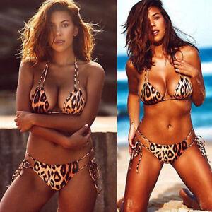 78a0c155672 Image is loading Brazilian-Bikini-Bottom-Thong-Leopard-Swimwear-Mini-String-