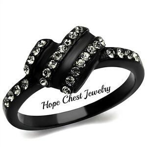 WOMEN-039-S-BLACK-TONE-STAINLESS-STEEL-BLACK-CRYSTAL-FASHION-RING-SIZE-5-10