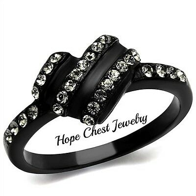 WOMEN'S BLACK TONE STAINLESS STEEL BLACK CRYSTAL FASHION RING SIZE 6, 7