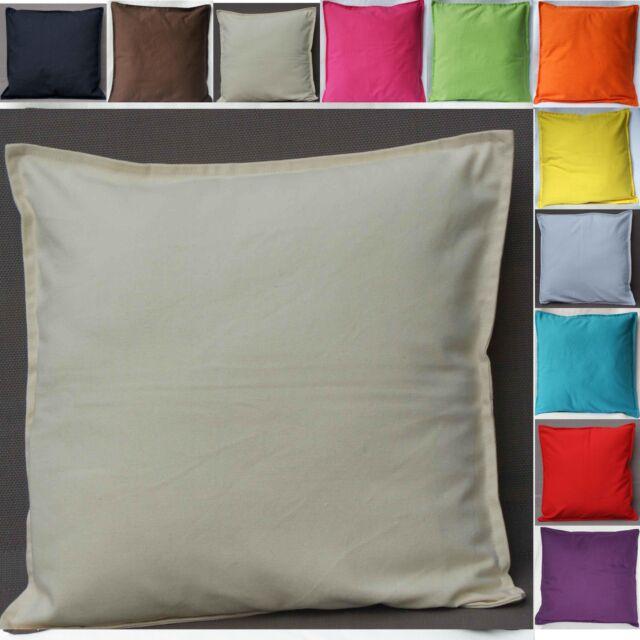 Cushion Covers Plain 100% Cotton Black White Cream Red