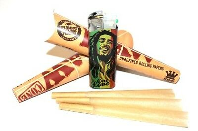 6 RAW King Size Classic Rolling Papers Pre-Rolled Cones - All Natural Unbleached