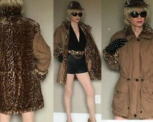 Longue Xs Fourrure Rare Fausse Trench Jupe Gallery coat Réversible Leopard Beige UZZTvn