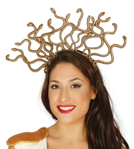 Ladies Gold Medusa Snakes Headband Hairband Fancy Dress Costume Outfit Accessory