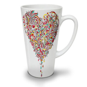 Colorful Heart NEW White Tea Coffee Latte Mug 12 17 oz | Wellcoda