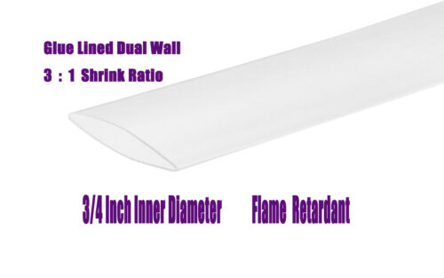"""3//4/"""" Clear 20FT 3:1 Ratio Dual Wall with adhesive Heat Shrink Tubing Marine"""