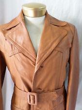 BELTED LEATHER caramel brown motorcycle biker Norfolk jacket 40