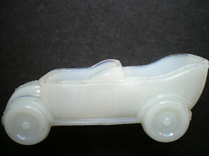 RARE FRENCH TOURING CAR DOUBLE SALT, OPEN SALT WHITE MILK GLASS VALLERYSTHAL