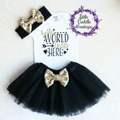 Hello World I/'m New Here Baby Girl Gown