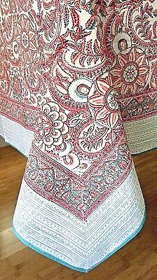 "Anokhi Wine /& Blue Floral Cotton Tablecloth 60/""x90/"""